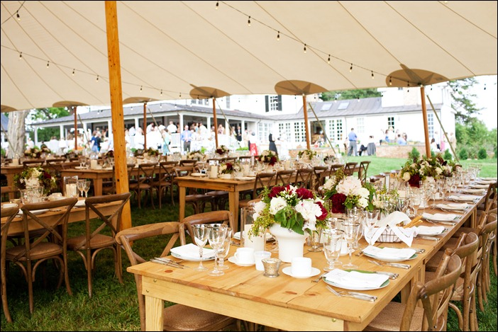 Farm Tables in Tent