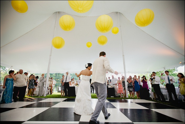 wedding 39s color theme perfect Black and White Dance Floor with Yellow