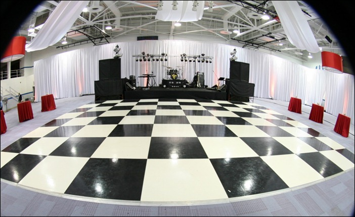 Black and white floor in gym